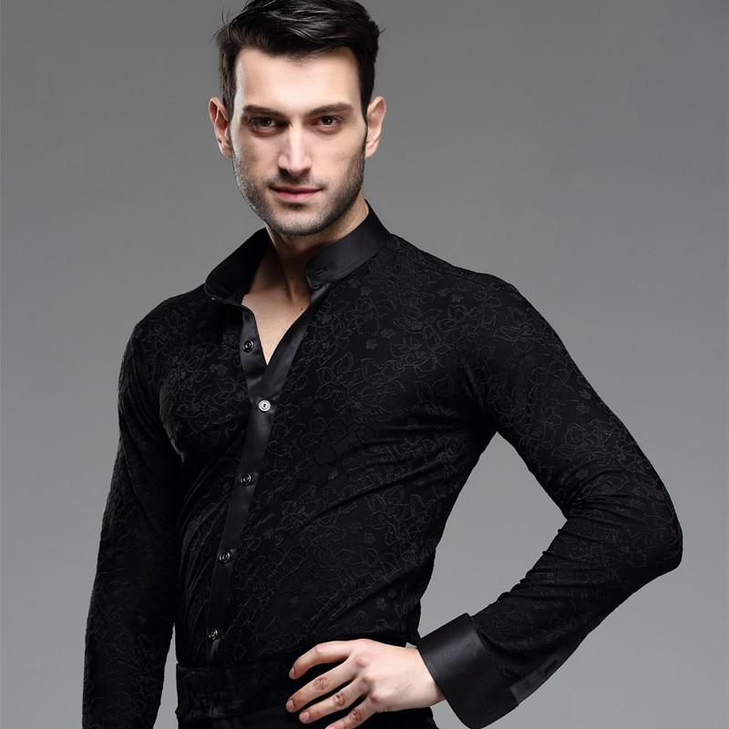 2019 Latin Dance Tops For Male Black Shirt Printed Adult Men Dance Tops Ballroom Standard GoGo Competitive Dancewear BL1591