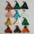 Wholesale triangle pendant Carving Natural stone pendants Hollow stonecharm  women pendant for jewelry making 12ps Free shipping