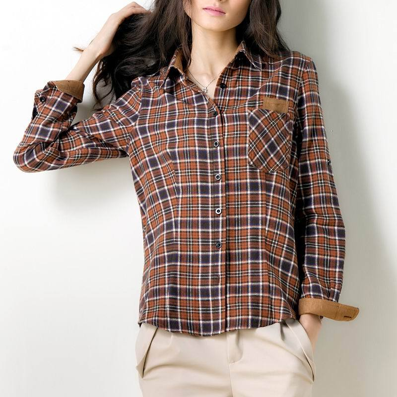 Veri Gude Plaid Shirt Women font b Tartan b font Blouse Cotton Fabric Contrast Color