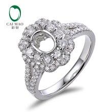 Caimao 5x7mm Oval Cut Semi Mount Setting Ring 18K White gold Natural 0.93ct Diamond Engagement Jewelry