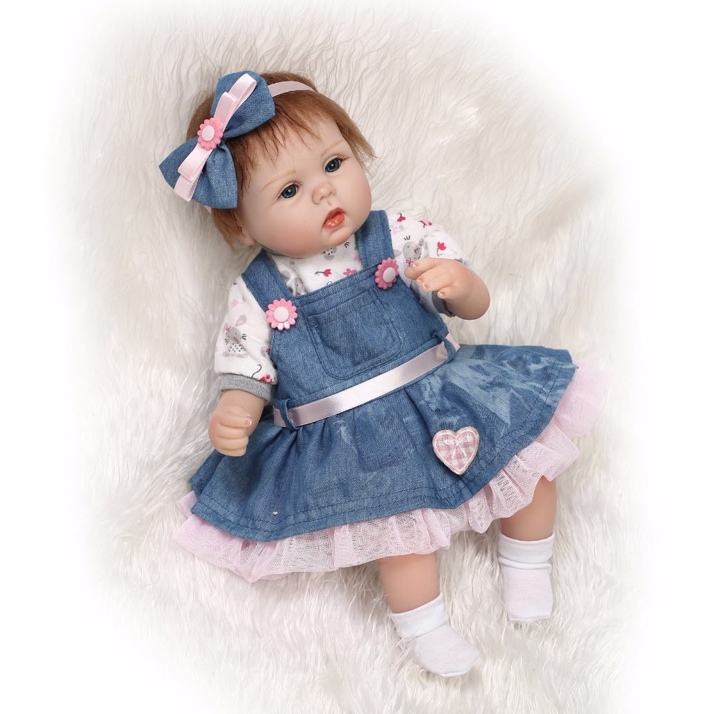Mohair Rooted Real Like New Born Babies Reborn Dolls 17'' Silicone Soft Stuffed Body Baby Doll So Truly Girl Toys Child Gifts 2016 cotton body reborn babies lifelike princess girls doll toy rooted mohair gift for baby reborn poupon brinquedos new year