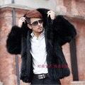 Moda inverno casaco de pele de raposa casaco de pele de vison casacos de pele com capuz parka casacos de inverno casual plue tamanho xxxl 4xl