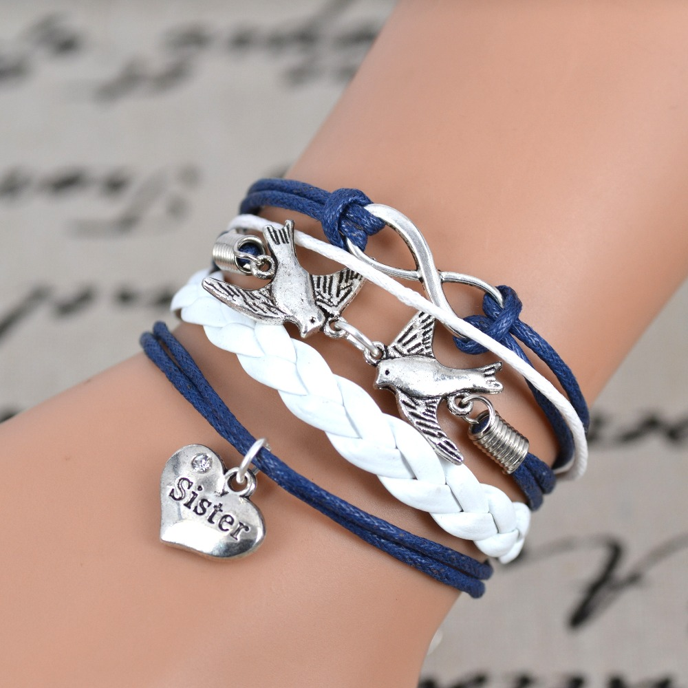 Free shipping 2015 Fashion Infinity love Birds sister Charm Bracelet Handwoven leather Bracelet Women Best Gift Christmas Gift
