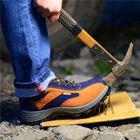 ฤดูหนาวผู้ชายทำงานรองเท้าเท้าเหล็กระบายอากาศที่อบอุ่นบู๊ทส์ลำลองผู้ชายหลักฐานเจาะประก...