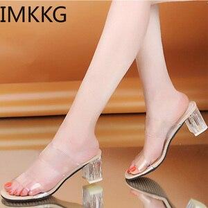 Image 3 - Pantoufles à talons transparents pour femmes, chaussures dété, escarpins carrés à talons hauts, sandales en gelée, buty damskie, Q00175, collection 2019