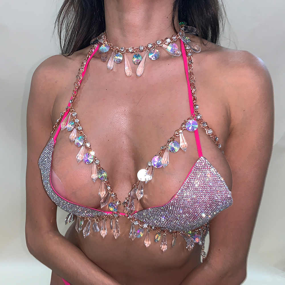2019 European Crystal Bead Statement Bikini Top Crop Breast Jewelry Summer Hollow Out Bling Strap Bra Rhinestone Sexy Body Chain