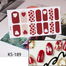 14tips/sheet Red Love Heart Nail Art Sticker Full Cover Wraps Valentine Stickers Adhesive DIY Tips Decal Drop Shipping