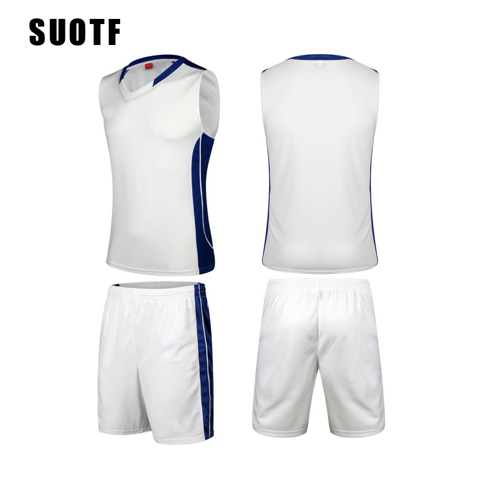 SUOTF High-end sports training suit basketball clothes suit breathable mesh jersey basketball shorts paul george fresno state