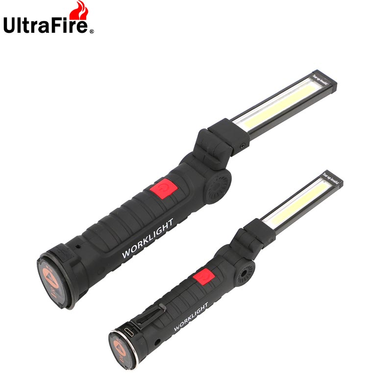 Portatil 5 modo espiga linterna antorcha usb retratável lavo la luz del trabajo magnetico cob lanterna gancho colgante lampara par