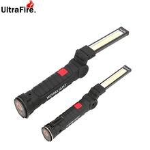 Lampe torche de travail magnétique COB portable, 5 modes, rechargeable USB, crochet suspendu