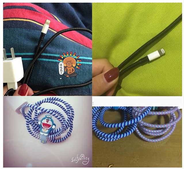 60cm Colors Data Cable Protective Sleeve Spring twine For Iphone Android USB Charging earphone Case Cover Bobbin winder