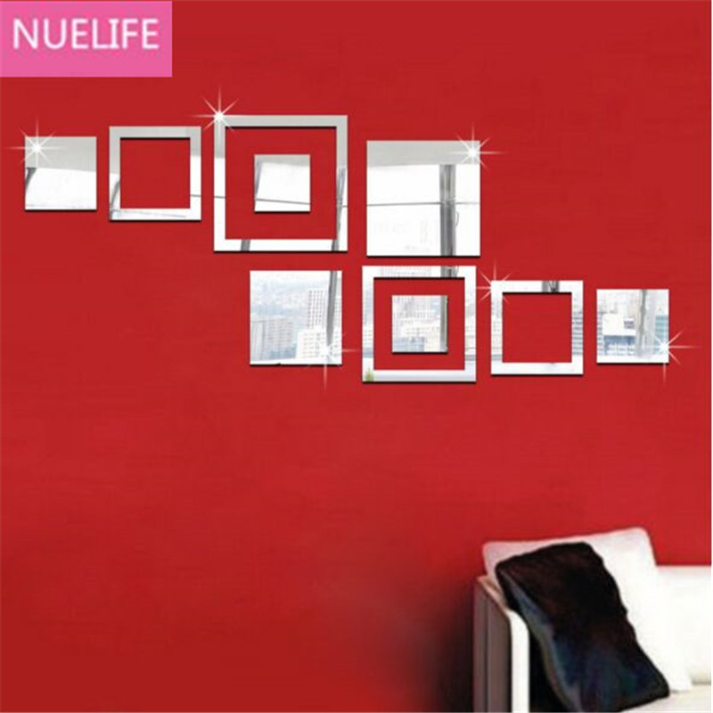 3D Irregular multiple square patterns acrylic mirror stickers office living room TV sofa background wall decoration stickers N1