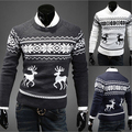 England British Animal Deer Print Men Pullover Sweater Male O Neck Long Sleeve Casual Mens Wool Sweaters Pullovers Free shipping