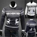 Inglaterra British Hombres Suéter Hombres Suéter de Los Ciervos Animal Print O Cuello de Manga Larga Casual Para Hombre de los Suéteres de Lana Envío gratis