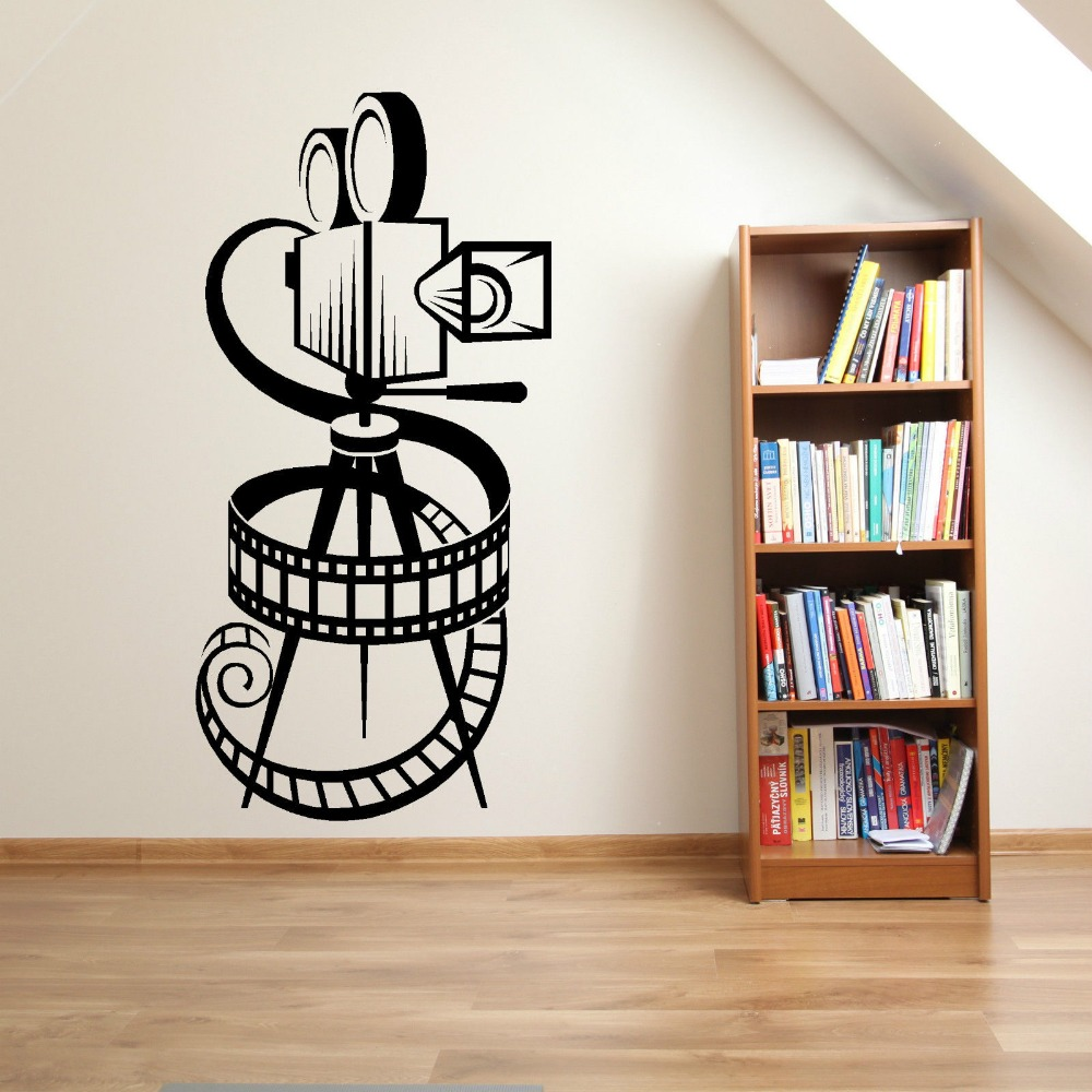MOVIE CAMERA FILM REEL HOME CINEMA VINTAGE THEATER Vinyl Wall art sticker decal Fesyen Wall Decoration For Living Room D539