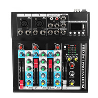 Bluetooth 4 Channel Sound Mixing Amplifier Console Microphone Karaoke Stage Live Studio Audio Mixer 48V Phantom