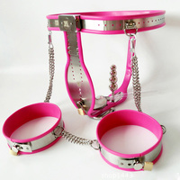 3 pcs/set pink silicone stainless steel male chastity belt pants+thigh ring+anal plug bdsm bondage device sex prodcuts for men
