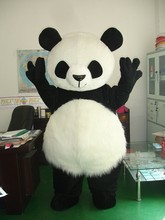 Crazy Sale@ Long Hair Panda Bear Animal Cosplay Adult Size mascot costumes Fancy Party Dress Suit +EPE Head