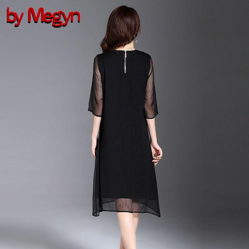 Plus Out Lâche En Creux 4xl D'été Broderie Taille Noir Pour Par Vintage De Floral Élégant Megyn Vêtements Soie Femmes Black Mousseline Robe gwWZFq6Sa