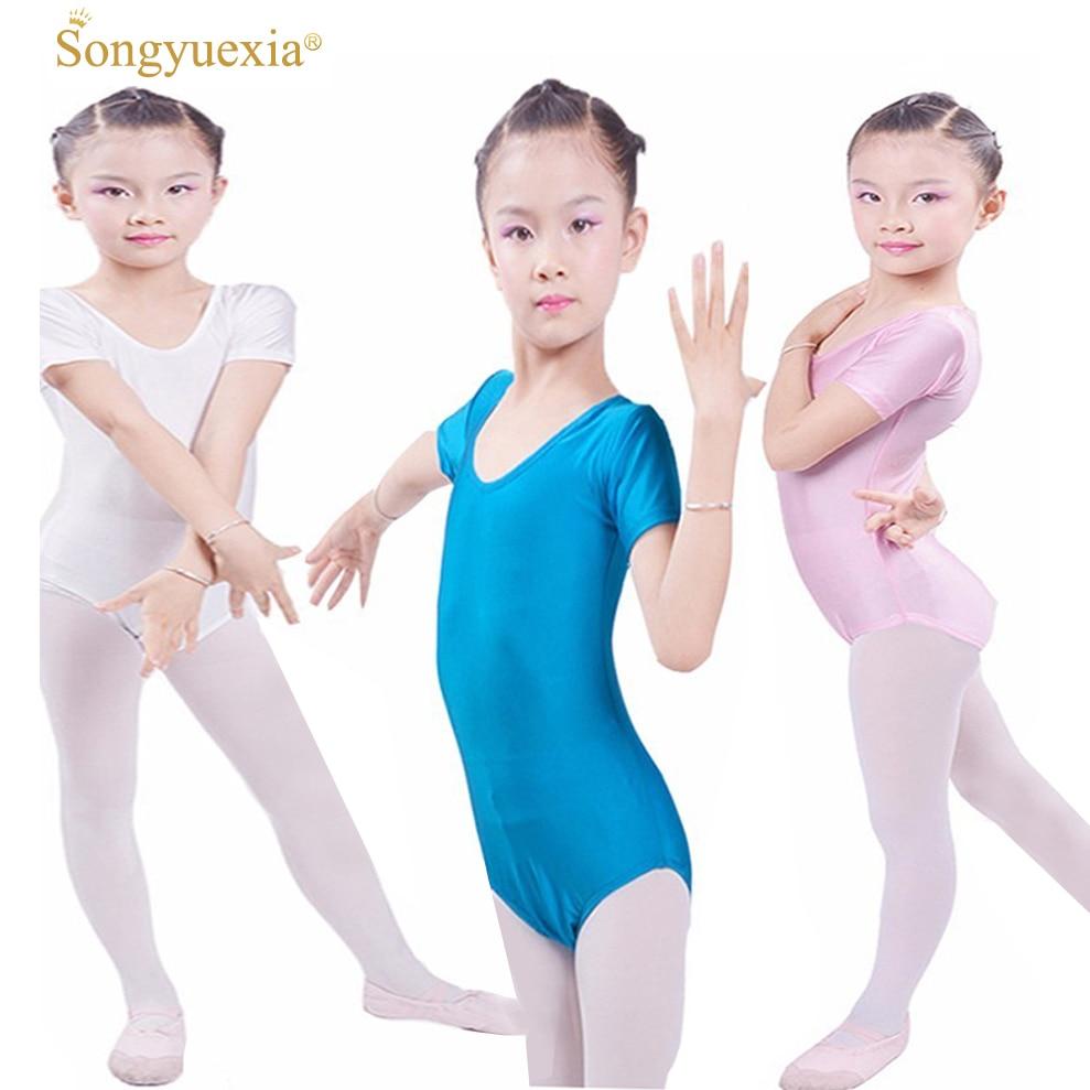 SONGYUEXIA Short -Sleeved Gymnastics Justaucorps Dance Costumes For Girls Leotard Ballet Costumes ballet infantil bodysuit skirt