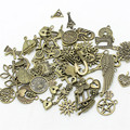 30-50pattern Mixed 50pcs Assorted Carved Charms Pendants Beads Metal Alloy Pandent Plated Antique Bronze  Diy Bead D1082