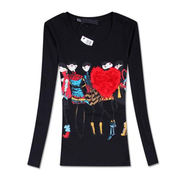 Camisas femininas 2016 outono nova chegada dos desenhos animados impressão fino o-pescoço de manga comprida de algodão t shirt mulheres Tamanho: M, L, XL tshirt das mulheres