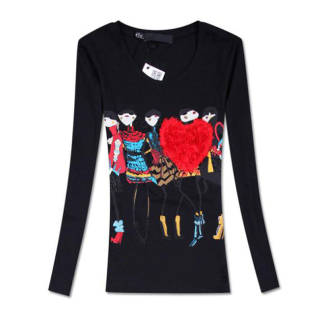 camisas femininas 2016 autumn new arrival cartoon print slim o-neck long sleeve cotton t shirt women Size: M,L,XL tshirt women's