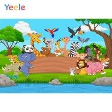 Yeele Forest River Animals Stone Grassland Birthday Photography Backgrounds Customized Photographic Backdrops for Photo Studio