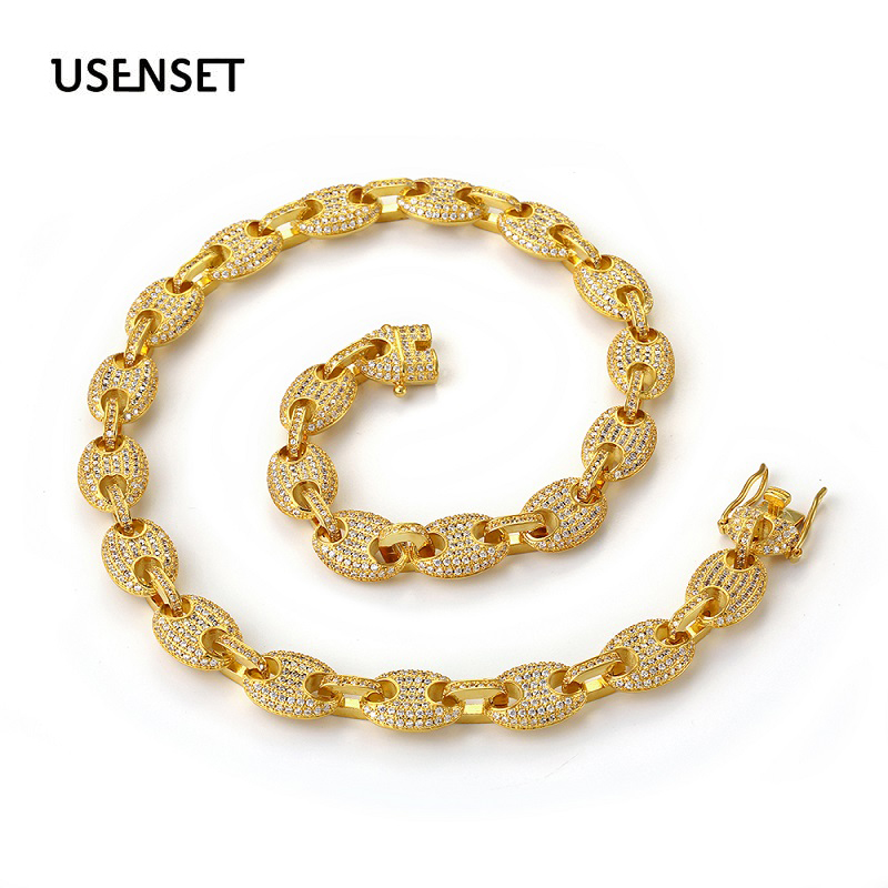 USENSET 12mm Coffee Bean  Bling Bling CZ Link Necklace Hip hop Fashion Punk Choker Chain  Charms Jewelry necklaceUSENSET 12mm Coffee Bean  Bling Bling CZ Link Necklace Hip hop Fashion Punk Choker Chain  Charms Jewelry necklace