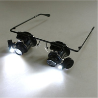 3pcs 20x Magnifying Glass With Led Lights Watch Repair Magnifier Binocular Loupe Watch Glasses Jewelry Repair