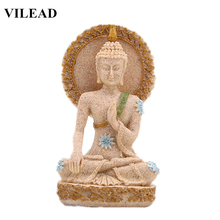 VILEAD Thailand Buddha Figurines Sand Stone Religious Southeast Asia Buddha Statues Miniatures Statuettes Vintage Home Decor цена