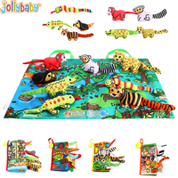 Jollybaby Baby Infant Toys Baby 3D Cloth Book Early Learning Educational Toys with Animals Tails English Story Development Books