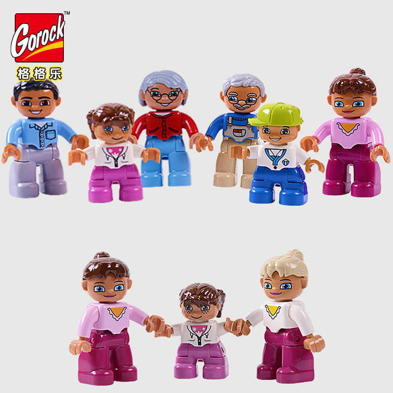 Duploe Figures 6pcs/Set Big Size Building Blocks Compatible LegoINGlys duploe Family Worker Police Figure Toys For Kids