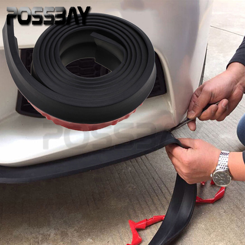 car styling black 2 5m rubber bumper guard protector door edge strip trim styling moulding black. Black Bedroom Furniture Sets. Home Design Ideas