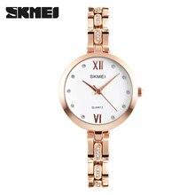 Skmei 1225 elegantes diamantes de imitación de las mujeres relojes de pulsera de cuarzo elegante escala impermeable señoras de la alta calidad relojes relogio feminino