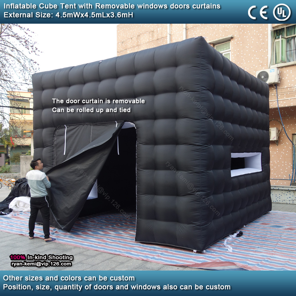 4.5mWx4.5mLx3.6mH Black white inflatable cube tent outdoor portable events room shelter for trade show party photo booth with removable door curtain
