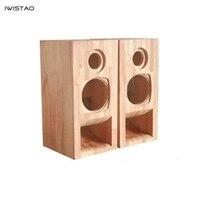 Iwistao HIFI 2 Way 3 дюймов полный диапазон Плюс твитер пустой корпус динамика лабиринт Рог твердой древесины аудио