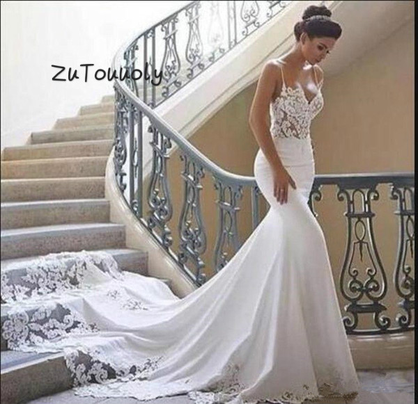 Spaghetti Straps Mermaid Boho Wedding Dress With Long Train Elegant See Through Top Satin Fishtail Wedding Gown Fitted Casamento