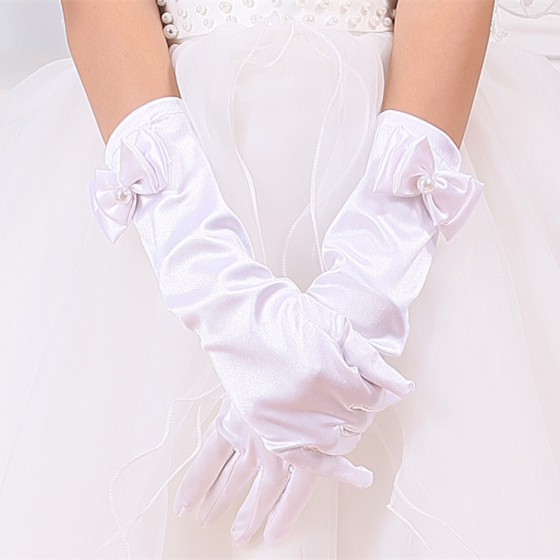 White fashion kid stretch satin long finger gloves for for Wedding dress with long gloves
