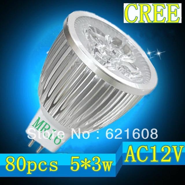 Free shipping 80pcs/lot MR16/GU10/E27/GU5.3/E1415W 5x3W CREE dimmable High power Spotlight LED Bulb Lamp LED Lighting