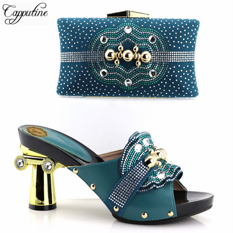 Capputine 2018 Beautiful African Style Shoes And Matching Bag Set Italian Rhinestones Shoes And Bags Set For Wedding Dress 2016 italian shoes with matching bags for party high quality african shoes and bags set for wedding