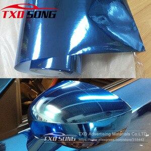 Image 1 - high stretchable light blue Chrome Air Bubble Free Mirror Vinyl Wrap Film Sticker Sheet emblem Car Bike Motor Body Cover