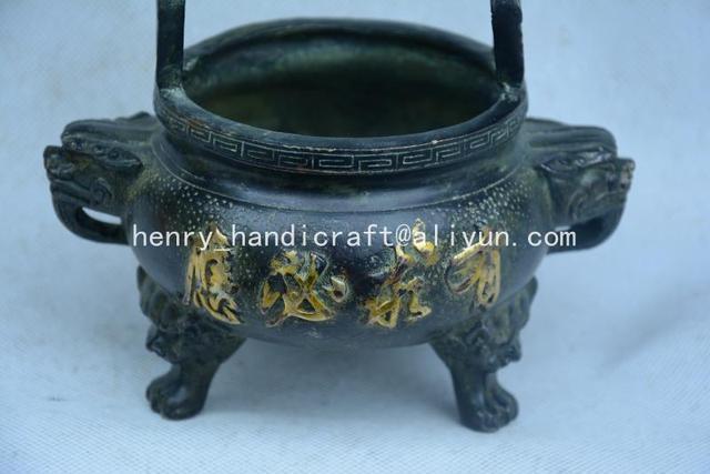 Rare Old Qing Dynasty Bronze gilt incense burner,free shipping