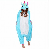 Wholesale Unisex Adult Woman Man Flannel Pajamas Suit Cartoon Animal Cosplay Costume Unicorn Onesie Sleepwear Jumpsuits