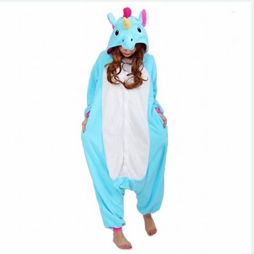 Winter Adult Women Pajamas Hooded Cartoon Animal Cosplay Anime Costumes Unicorn Panda Pikachu Stitch Koala Onesie