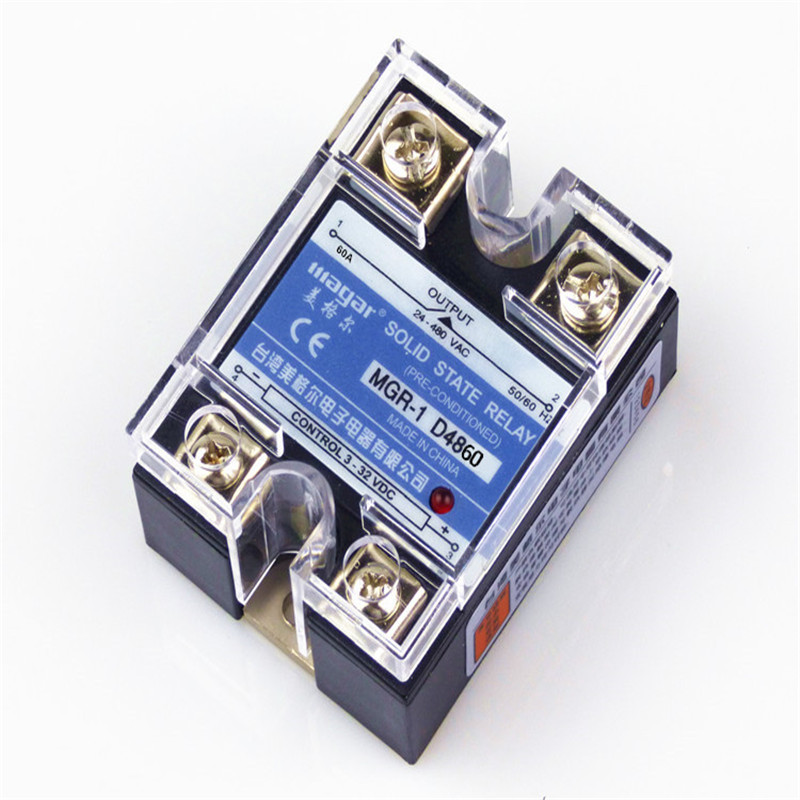 Single-Phase Solid State Relay 220V SSR MGR-1 D4860 60A DC-AC ssr 40da single phase solid state relay white silver