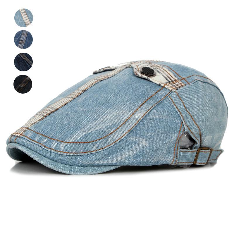 Prix pour Mode D'été Jeans Chapeaux pour Hommes Femmes Haute Qualité Casual Unisexe Denim Béret Caps Extérieur Casquette Plate pour Cowboy