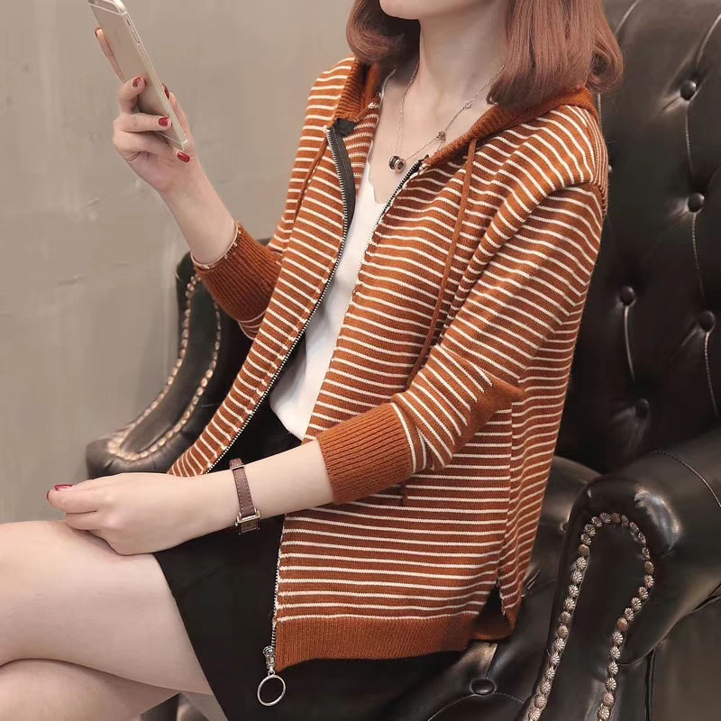 New Casual Long Sleeve Cardigan Sweater Women Knitted Hooded Cardigans With Zipper Korea Autumn Female Fashion Knitting Outwear 27