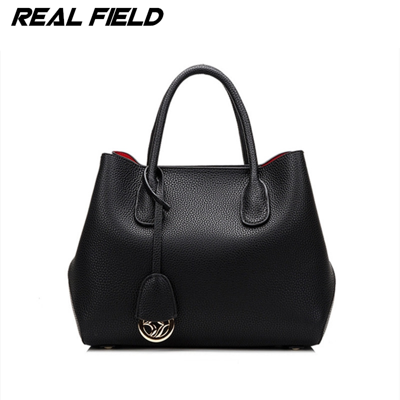 Real Field Brand Split Leather Women Briefcase Ladies Luxury Tote Shoulder Handbags Golden Designer Composite Messenger Bags 52