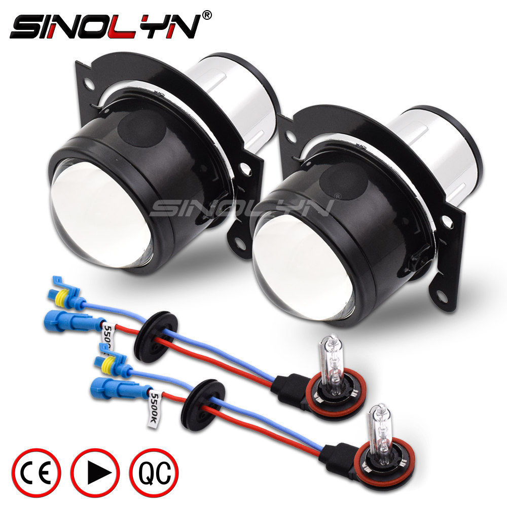 SINOLYN HID Bi xenon Fog Lights Projector Lens Driving Lamp H11 High Low For Car Motorcycle